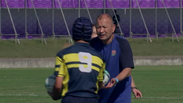 exterior shots of england rugby head coach eddie jones taking a community training session with a local rugby team ahead of the 2019 rugby world cup... - sports team stock videos & royalty-free footage