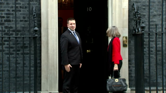 Exterior shots of Estonian Prime Minister Jüri Ratas arriving at Number 10 Downing Street to meet with Theresa May>> on January 30 2018 in London...