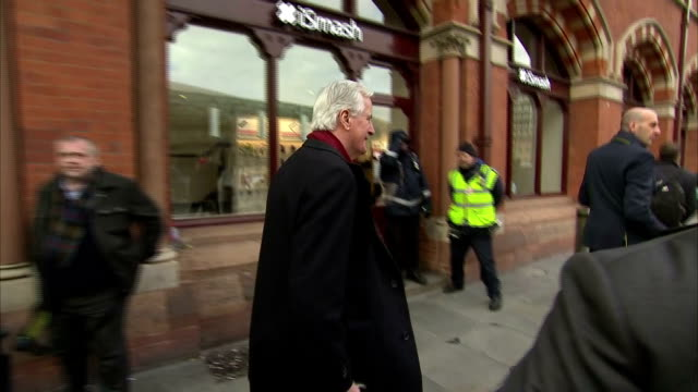 Exterior shots of European Commission Chief Negotiator Michel Barnier walking out of St Pancras station and getting into a waiting car arriving in...