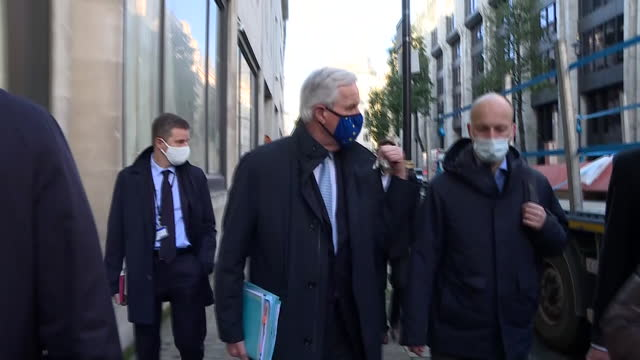 exterior shots of european commission's head of task force for relations with the united kingdom michel barnier walking down street wearing eu face... - uk politics stock videos & royalty-free footage