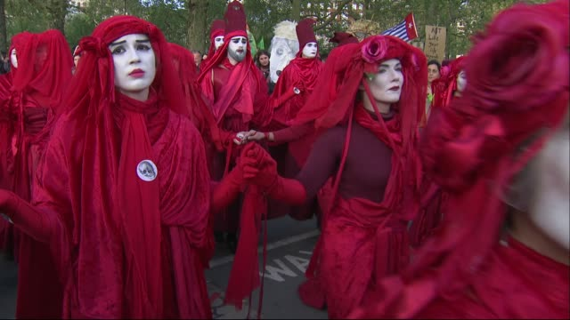 exterior shots of extinction rebellion red brigade on last day of their campaign on 25th april 2019 in london england - brigade stock videos & royalty-free footage