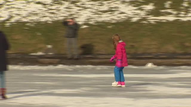 vidéos et rushes de exterior shots of families and various people ice skating on top of a frozen inverleith park pond and a swan standing on the frozen pond on the 13th... - organisme aquatique