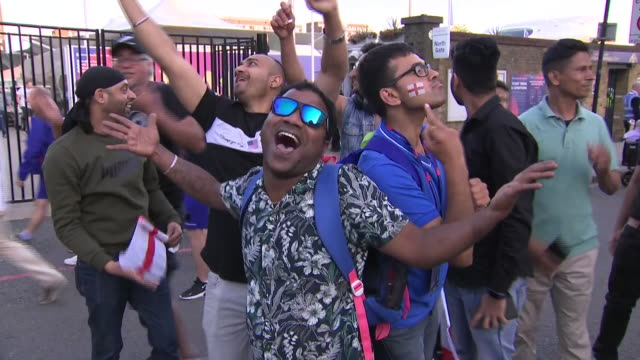 exterior shots of fans celebrating england's championship in the cricket world cup 2019 as they are coming out of the lord's cricket stadium on 14th... - world championship stock videos and b-roll footage