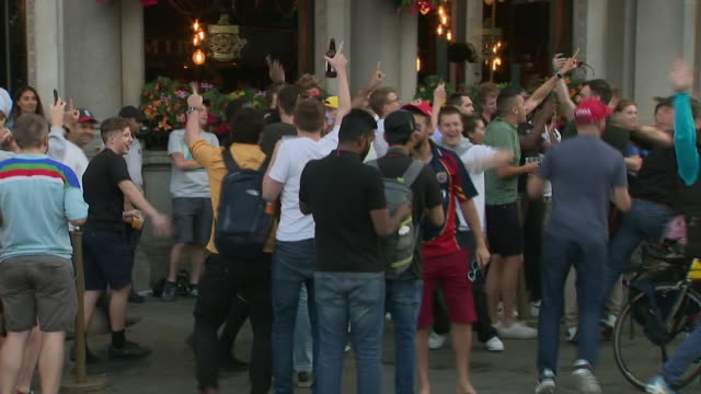 exterior shots of fans celebrating england's championship in the cricket world cup 2019 on the streets of london on 14th july 2019 in london england... - world championship stock videos & royalty-free footage
