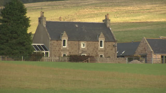 exterior shots of farm fields and a farmhouse in aberdeenshire where a confirmed case of bse aka 'mad cow' disease was discovered on 19 october 2018... - aberdeenshire stock videos & royalty-free footage