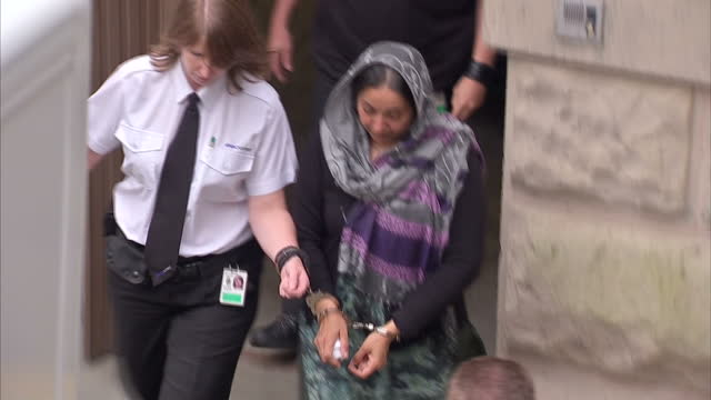 exterior shots of farzana ahmed mother of shafilea ahmed departing court in hadcuffs farzana ahmed court departure on july 13 2012 in london england - cheshire england stock videos & royalty-free footage