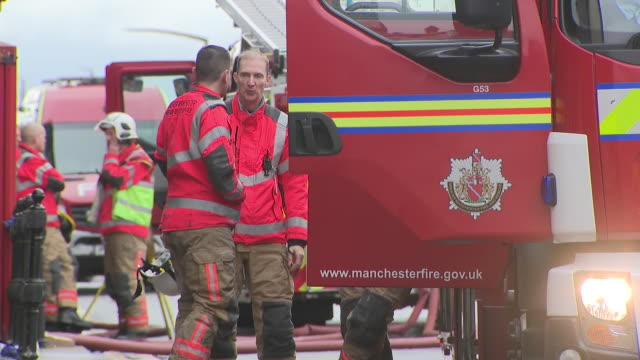 exterior shots of firefighters at the student accommodation building where fire broke out on 16 november 2019 in bolton greater manchester united... - misfortune stock videos & royalty-free footage
