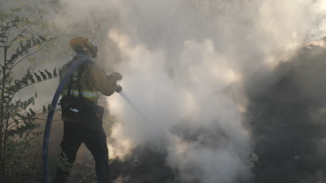exterior shots of firefighters damping down scorched land with visible smoke on the 12 of november in malibu california united states - malibu stock-videos und b-roll-filmmaterial