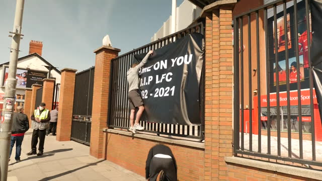 exterior shots of football fans with protest banner outside anfield football stadium home of liverpool football club on 19th april 2021 liverpool,... - europe stock videos & royalty-free footage