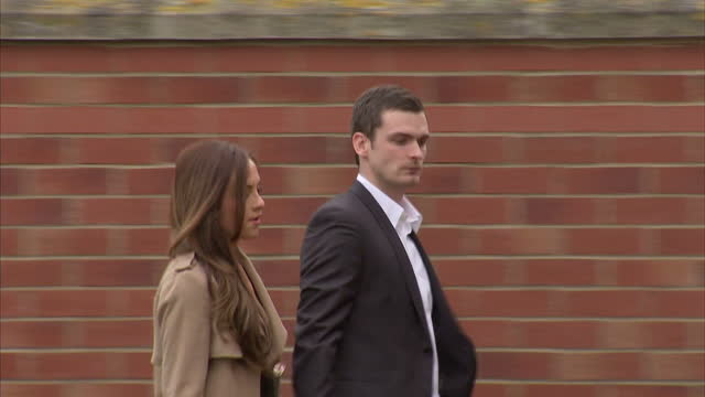 exterior shots of Football Player Adam Johnson arrive in black Range Rover and walk to Peterlee Magistrates Court with his partner Stacey Flounders...
