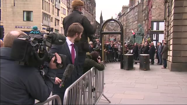 exterior shots of former first minister of scotland alex salmond speaking to press as he leaves court after being acquitted of all charges in sexual... - alex salmond stock videos & royalty-free footage