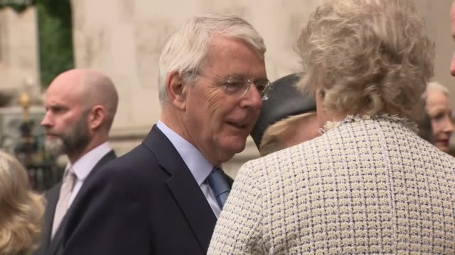 exterior shots of former prime minister sir john major and george osborne leaving a memorial service at westminster abbey for jeremy heywood on 20th... - jeremy heywood stock videos & royalty-free footage