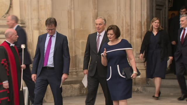 exterior shots of former prime minister tony blair and wife cherie booth walking with former deputy prime minister nick clegg mp from westminster... - jeremy heywood stock videos & royalty-free footage