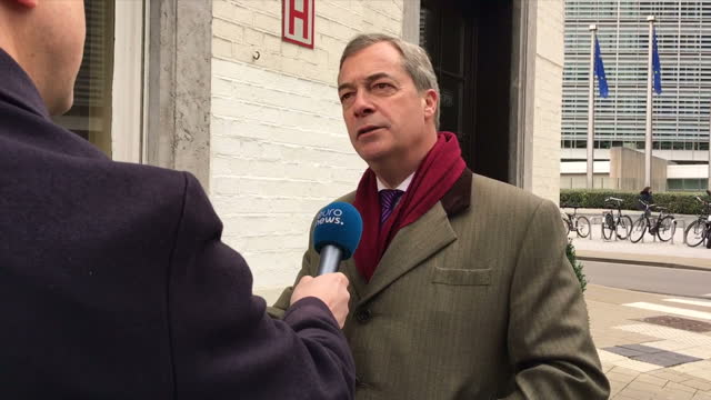 Exterior shots of former UKIP leader Nigel Farage MEP speaking to members of the media outside a pub opposite the European Commission following a...