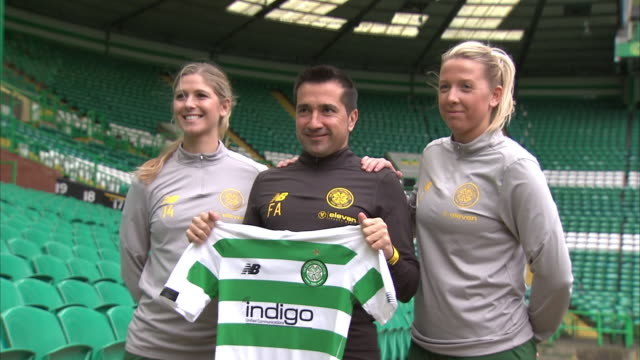 exterior shots of fran alonso at celtic pak stadium being announced as the new manager of celtic fc women. holding up a celtic shirt and posing for... - women stock videos & royalty-free footage