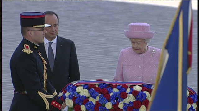 exterior shots of french president francois hollande welcoming queen elizabeth ii and her husband prince philip and francois hollande and queen... - wreath stock videos & royalty-free footage