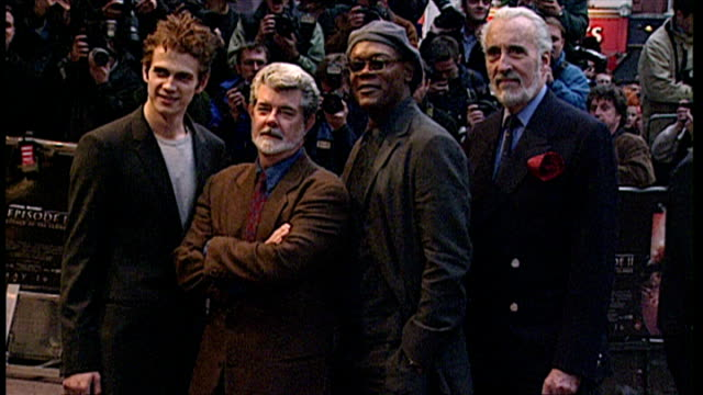 Exterior shots of George Lucas Christopher Lee Hayden Christensen Samuel L Jackson posing for photos at the premiere of Star Wars Episode II Attack...
