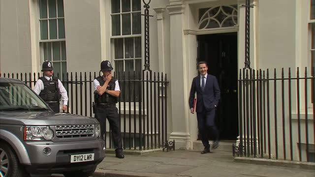 exterior shots of george osborne departing number 11 downing street on the day theresa may takes over as prime minister on july 13 2016 in london... - george osborne stock videos & royalty-free footage