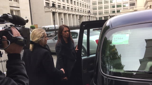 exterior shots of gina miller, anti-brexit campaigner, arriving at the institute of contemporary art for the launch of the better for britain... - campaigner stock videos & royalty-free footage