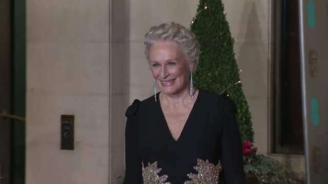 exterior shots of glenn close on the bafta after party red carpet on 10th february 2019 in london, england. n.b. contains flash photography - glenn close stock-videos und b-roll-filmmaterial