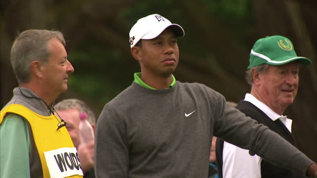 exterior shots of golfer tiger woods stood on practice green with golf club on 27 july 2010 in adare ireland - tiger woods stock videos & royalty-free footage