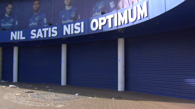 exterior shots of goodison park closed down during the coronavirus outbreak. - football stock videos & royalty-free footage