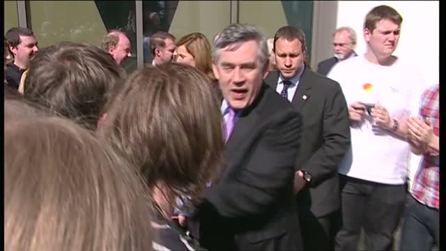 exterior shots of gordon brown greeting supporters as he leaves telford whilst campaigning in the run up to the 2010 general elections on may 04,... - gordon brown stock-videos und b-roll-filmmaterial