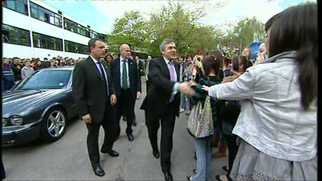 Exterior shots of Gordon Brown with wife Sarah arriving at Warwickshire University and greeting various staff and students on May 04 2010 in London...