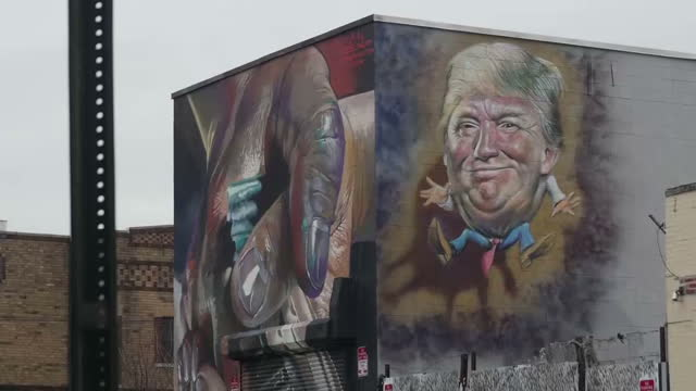 Exterior shots of graffiti featuring a caricature of Donald Trump on a wall on January 17 2017 in New York City