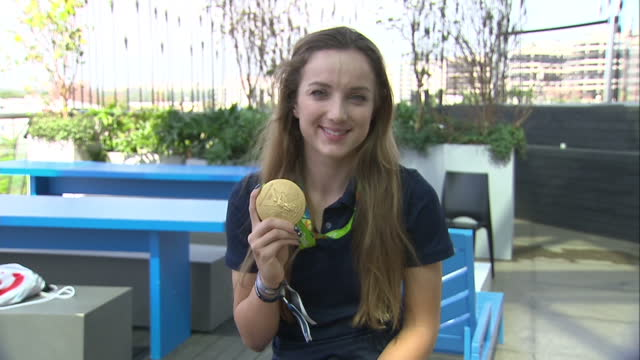 Exterior shots of Great Britain's Cycling Women's Team Pursuit Gold Medalist Elinor Baker posing with Olympic Gold Medal on August 15 2016 in Rio de...