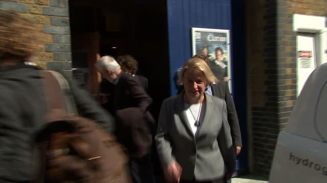 Exterior shots of Green party leader Natalie Bennett walking from the Arcola Theatre in Dalston after delivering the Green Party manifesto launch...