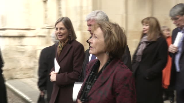 exterior shots of guests including joan bakewell departing from westminster abbey after attending a service of thanksgiving celebrating the life and... - joan bakewell stock videos & royalty-free footage
