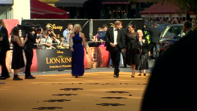exterior shots of harry duke of sussex and meghan duchess of sussex arriving at leicester square for the european premiere of the lion king on 14th... - meghan duchess of sussex stock videos and b-roll footage