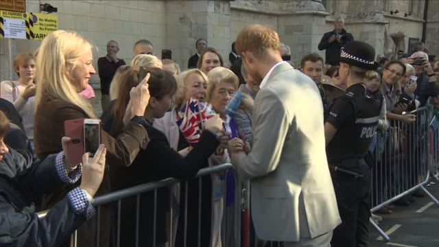 exterior shots of harry, the duke of sussex greeting crowds on west street before a visit to edes house, chichester on 3 october 2018 in chichester,... - west sussex stock videos & royalty-free footage