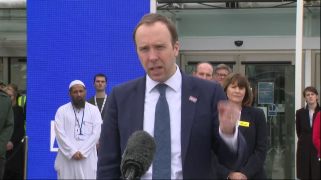 exterior shots of health secretary matt hancock mp making a speech at the opening ceremony of the new nhs nightingale hospital at london's excel on 3... - nightingale stock videos & royalty-free footage