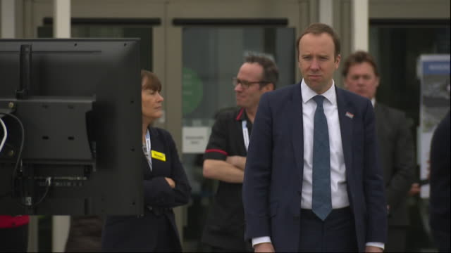 exterior shots of health secretary matt hancock mp stood for the opening ceremony of the new nhs nightingale hospital at london's excel centre on 3... - nightingale stock videos & royalty-free footage