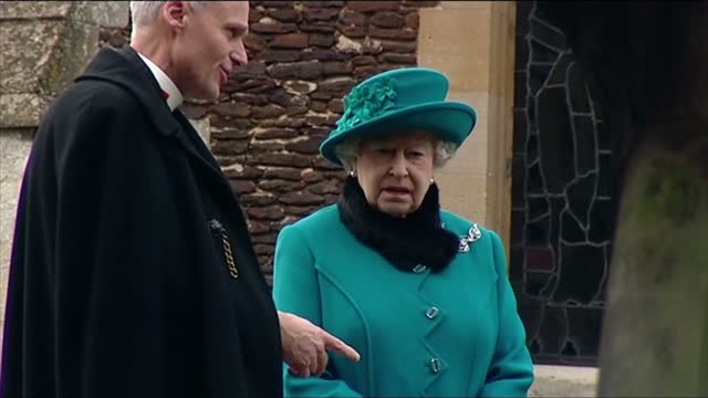 Exterior shots of Her Majesty the Queen wearing turquoise hat and coat talking to rector Jonathan Riviere whilst walking from St Mary Magdalene...