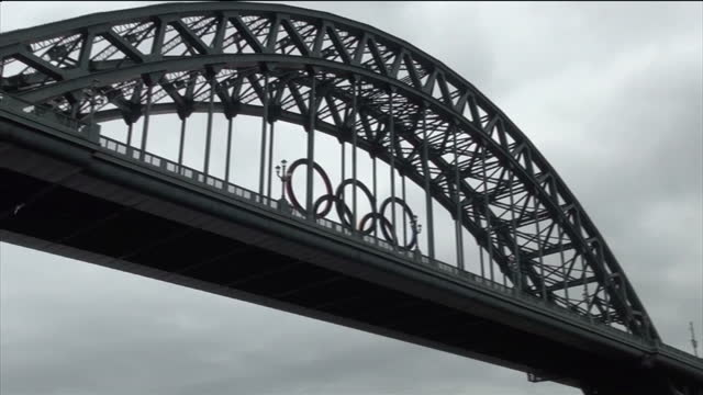exterior shots of hilton hotel in gateshead where olympic athletes will stay olympic rings on tyne bridge sky news 2012 olympics coverage at hilton... - tyne bridge stock videos & royalty-free footage