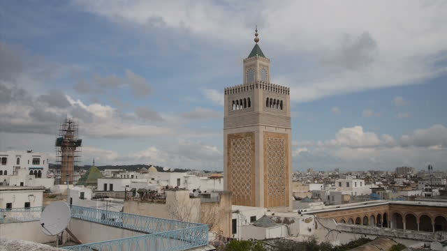 exterior shots of historical buildings including the medina and cathedral of st vincent de paul towers on march 3 2015 in tunis tunisia - tunisia stock videos & royalty-free footage