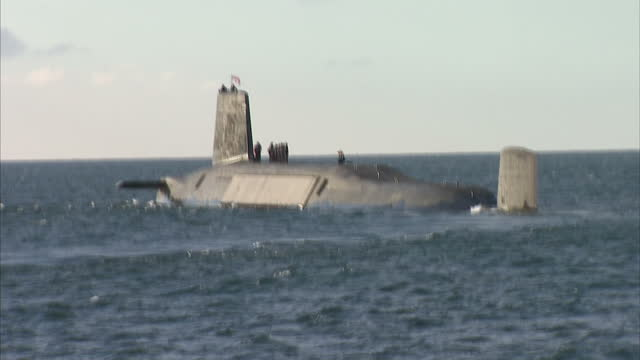 exterior shots of hms victorious at sea with sailors on deck trident submarine hms victorious at sea on april 04, 2013 in glasgow, scotland - submarine stock videos & royalty-free footage