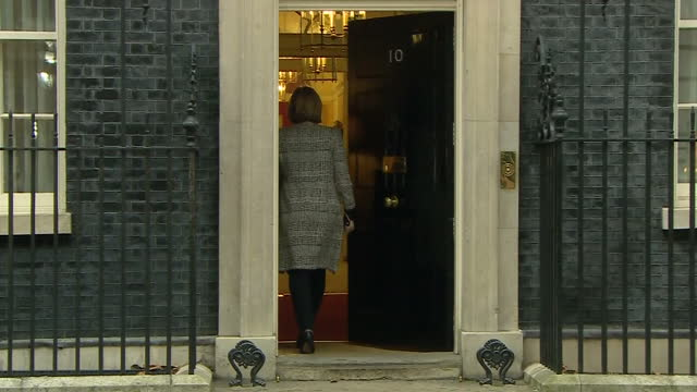 Exterior shots of Home Secretary Amber Rudd arriving and departing from Number 10 Downing Street retaining her Cabinet position in Theresa May's...