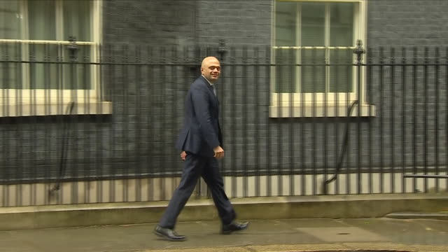 exterior shots of home secretary sajid javid mp departing downing street on 30 april 2018 in london united kingdom - downing street stock videos and b-roll footage