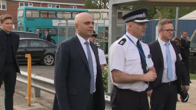 exterior shots of home secretary sajid javid mp visiting kent police college on 25th april 2019 in maidstone england - sajid javid stock videos & royalty-free footage