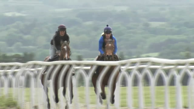 exterior shots of horses being trained on middleham racecourse. - all horse riding stock videos & royalty-free footage