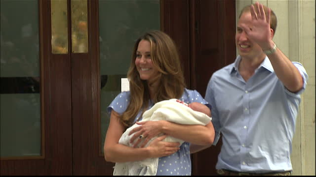 exterior shots of hrh prince william & catherine, duke & duchess of cambridge making their first public appearance with their first new born child,... - new life stock videos & royalty-free footage