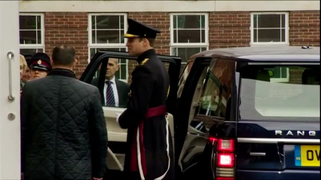 exterior shots of hrh prince william, duke of cambridge departing keogh barracks in royal car after visit to award medals to british army medics who... - aldershot stock videos & royalty-free footage