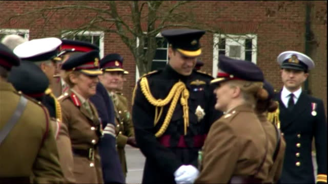 exterior shots of hrh prince william, duke of cambridge presenting medals to british army medics who served in the fight against ebola in sierra... - aldershot stock videos & royalty-free footage