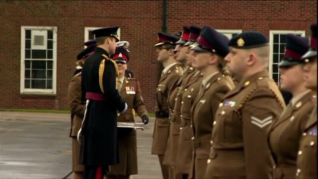 exterior shots of hrh prince william, duke of cambridge presenting medals to british army medics who served in the fight against ebola in africa at... - aldershot stock videos & royalty-free footage