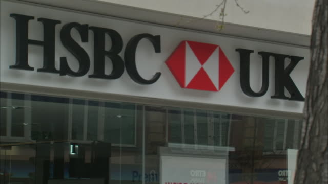 exterior shots of hsbc bank branch closed down during coronavirus lockdown on 1 april 2020 in london, england. - banking stock videos & royalty-free footage
