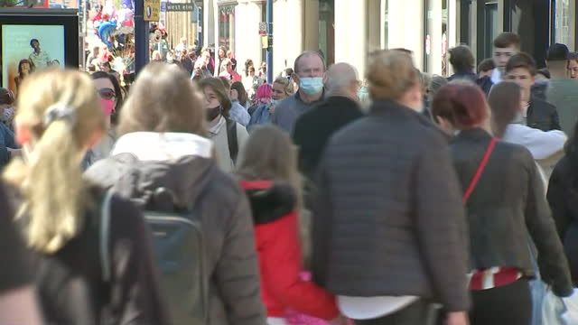 exterior shots of hundreds of people, sea of heads, shopping and walking down high street on 18th april 2021 kingston upon thames, united kingdom. - high street stock videos & royalty-free footage
